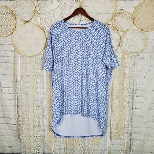 Lularoe Womens Blue and White Floral Irma Tunic